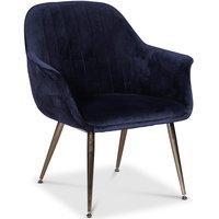 Flappy karmstol - Mörkblå sammet med kromade ben