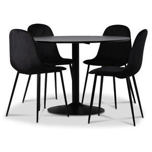 Seat matgrupp, matbord med 4 st Carisma sammetsstolar - Svart/Svart