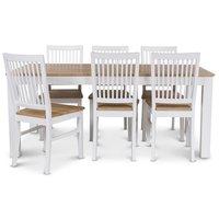 Dalarö matgrupp 180 cm bord vit/ek + 6 st Dalarö matstolar