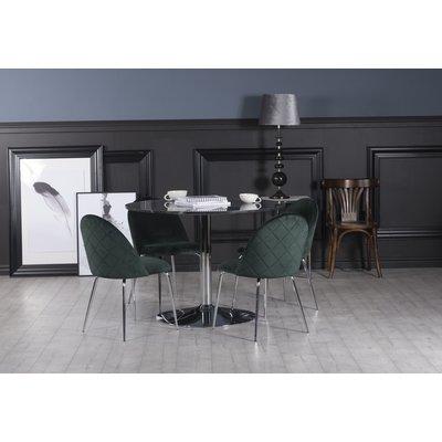 Plaza matgrupp, marmorbord med 4 st Plaza sammetsstolar - Grön/Grå/Krom