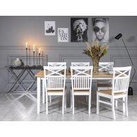 Fårö matgrupp: Bord 180 cm inklusive 6 st Fårö stolar med kryss - Ek/vit