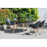 Chamonix matgrupp Bord + 4 st svarta stolar