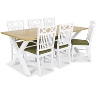 Isabelle matgrupp - Bord inklusive 6 st Herrgård Gripsholm stolar med grön sits - Vit/ekbets