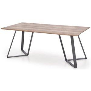Lykke matbord - Mörkbetsad ek / Svart metall