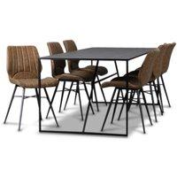Lazio matgrupp 195 cm bord med 6 st Unique stolar - Svart/Brun