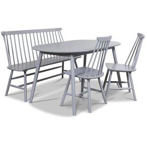 Göteborg Matgrupp - Ovalt Bord med 2 st grå pinnstolar och 1 st grå Pinnsoffa