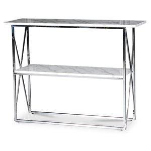 Paladium konsolbord - Krom / Äkta ljus marmor
