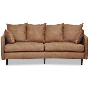 Gotland 3-sits svängd soffa - Cognac ecoläder