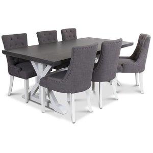 Ventos matgrupp inklusive 6 st Tuva stolar i grått tyg