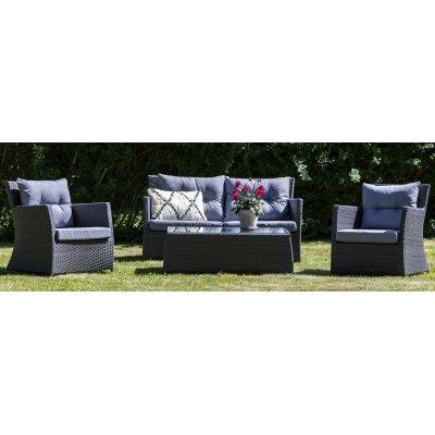 Ballingslöv utegrupp: soffa, fåtöljer och bord - Antracit konstrotting