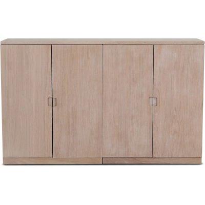 Level sideboard med släta dörrar B140 cm - Whitewash