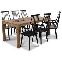 Jasmine matgrupp med bord och 6 st svarta Dalsland med stolar med armstöd - Oljad ek / Granit