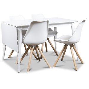 Twister matgrupp, klaffbord Tärnö 120 cm med 4 st vita Twist matstolar