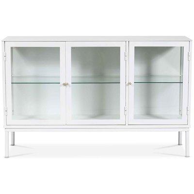 Cliff sideboard i plåt med vitrindörrar 125 cm - Vit / Klarglas