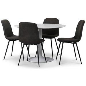 Seat matgrupp, runt matbord med 4 st Smokey matstolar - Vit/Vintage