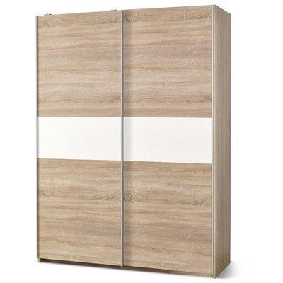 Garderob med skjutdörrar och inredning Abdel - Vit/ek
