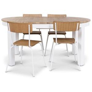 Dalarö matgrupp ovalt bord vit/oljad ek + 4 st Pluto matstolar vit/ek