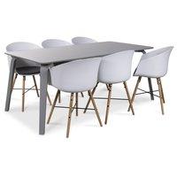 Visby matgrupp, 180 cm grått bord med 6 st Moon matstolar