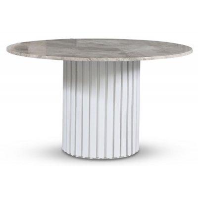 Empire matbord - Silver diana marmor 130 cm / Vit lamell träfot