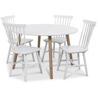 Rosvik matgrupp Runt bord vit/ek med 4 st vita Visby pinnstolar