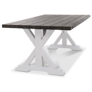 Provence matbord 180 cm - Vit / Brun