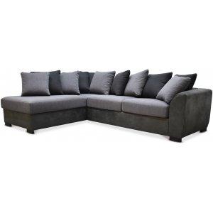Delux soffa med öppet avslut vänster - Grå/Antracit/Vintage