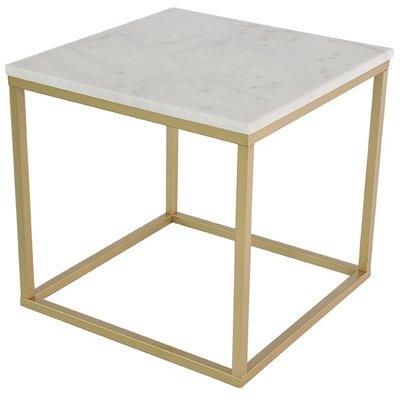 Accent lampbord 50x50 cm - Vit marmor / Mässing