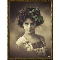 Tavla ung kvinna - Fjärilar/guldfärgad ram