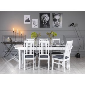 Gåsö matgrupp ovalt utdragbart inklusive 6 st Gåsö stolar - Vit