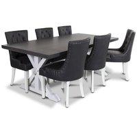 Ventos matgrupp inklusive 6 st Tuva stolar i svart PU