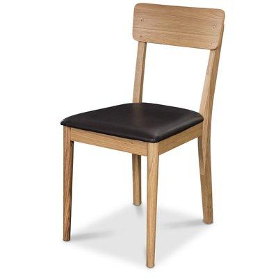 Linnea matstol - Oljad ek / Svart konstläder