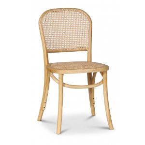 Indiana böjträ stol - Ljust trä med rottingsits