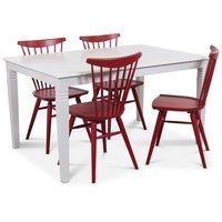 Mellby matgrupp 140 cm bord med 4 st röda Thor Pinnstolar - Vit / Rött