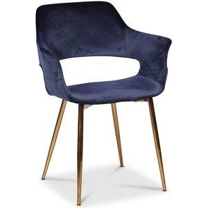 Flap karmstol - Mörkblå sammet med mässingsben