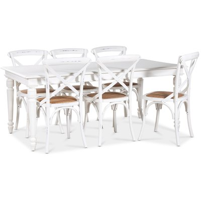 Paris matgrupp 180 cm bord vit + 6 st vita Gaston matstolar