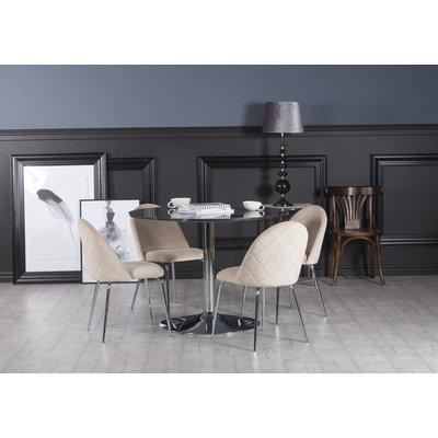 Plaza matgrupp, marmorbord med 4 st Plaza sammetsstolar - Beige/Grå/Krom
