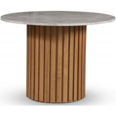 Sumo matbord Ø105 cm - Oljad ek / Silver marmor