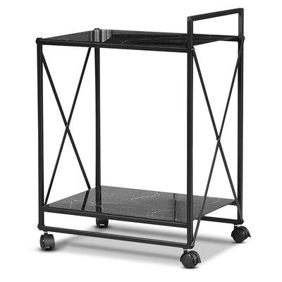 Serveringsvagn Paladium - Svart / Svart marmorglas