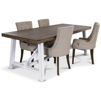 Colorado matgrupp, 200cm brunt/vitt bord med 4 st Tuva matstolar i beige tyg