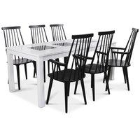 Jasmine matgrupp med vitlackat bord och 6 st svarta Dalsland pinnstolar med armstöd