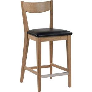 Kinley barstol - Lackad ek/svart konstläder