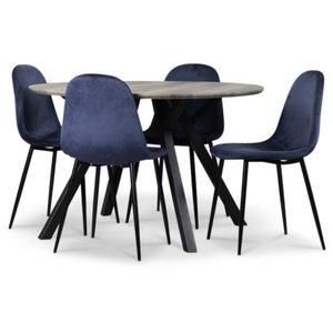 Smokey matgrupp, runt matbord med 4 st Carisma sammetsstolar - Blå