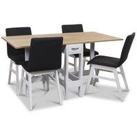 Signum matgrupp Slagbord vit/ek med 4 st Molly stolar i mörkgrått tyg med vita ben