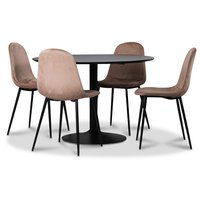 Seat matgrupp, matbord med 4 st Carisma sammetsstolar - Svart/Korall