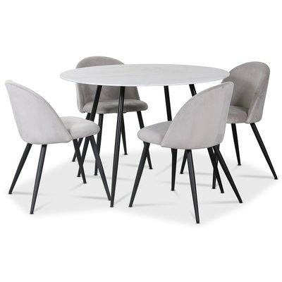 Alice matgrupp, 110 cm runt bord + 4 st Alice stolar ljusgrå sammet