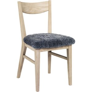 Kinley stol - Whitewash ek/grått fårskinn