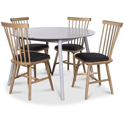 Göteborg matgrupp grått runt bord med 4 st Småland Pinnstolar - Grå / Ek
