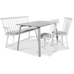 Visby matgrupp - Grått bord med 2 st Småland pinnstolar och 1 st Småland pinnsoffa - Grå / Vit