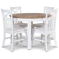 Dalarö matgrupp runt bord vit/ek + 4 st Mellby stolar