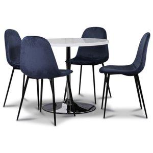 Tiana matgrupp, runt matbord med 4 st Carisma sammetsstolar - Vit/Blå